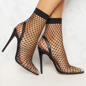 PRETTY LITTLE THING Black Fishnet Heels
